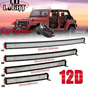 Image 1 - Đồng Sáng 22 32 42 52 Inch 12D Cong LED Bar Combo 12V 24V Ngoài Đường đèn Led Thanh Cho Xe SUV 4X4 Lada Uaz Xe Tải Tự Động Lái Xe Ánh Sáng