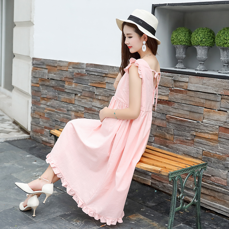 3baddd04e25 Maternity Clothing Ruffle Pregnant Clothes Women Dress Sleeveless Sweet  Cotton Linen Korean Version Of Pregnancy -in Skirts from Mother   Kids on  ...