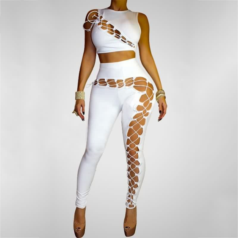 56eefb10f31 Women Sexy Bodysuits Bodycon Two Piece Hollow Out Bandage Jumpsuit White Black  Sleeveless Rompers Night Club Wear 2 Piece Outfit on Aliexpress.com