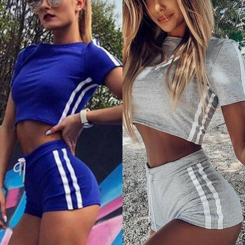Hot 2019 Women Sets 2Pcs Elastic Bandage Suits Tracksuit Solid O-Neck Sports Gym Run Top Shorts Ladies Fashion Casual Summer
