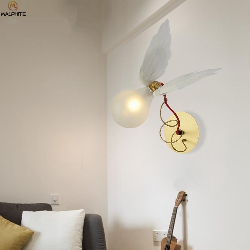 nordic anjo pena led lampada de parede 02