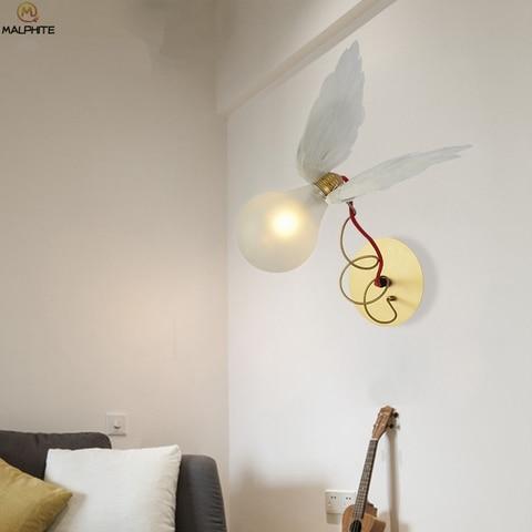 nordic anjo pena led lampada de parede