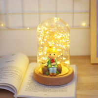 Hot sale Nordic Creative Table Lamp Wedding Gift Birthday Gift Glass Round Cover Light Fire Tree Silver Flower LED Light