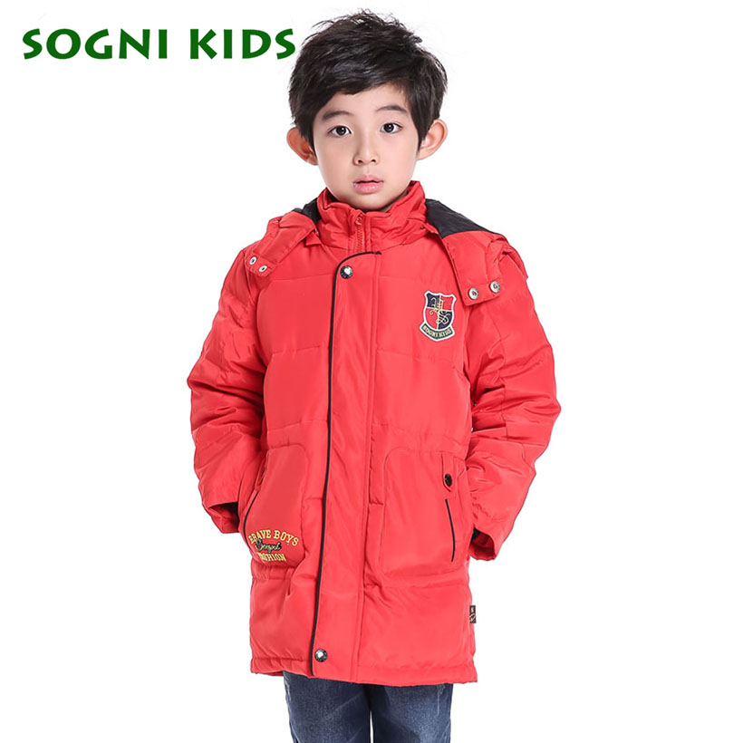 SOGNI KIDS Boys Red Hooded Parkas Baby Feather Duck Down Winter Jackets 2016 Children Winter Imported Clothing Coats