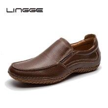 LINGGE/мужская повседневная обувь; модная мужская обувь; кожаные мужские лоферы; мокасины; удобные слипоны; мужские лоферы на плоской подошве; мужская обувь