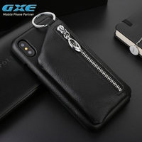 GXE Lyitchi Pattern Genuine Leather Back Case For iPhone 10 Zipper Leather cover Phone Bag For iPhone X Case With Card Horder