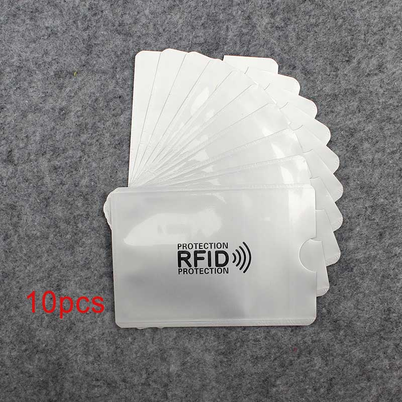 10pcs Anti Rfid Wallet Blocking Reader Lock Bank Card Holder Id Bank Card Case Protection Metal Credit Card Holder Aluminium