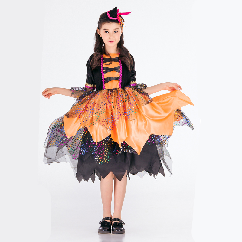 Halloween European and American costume children's show set costume cosplay witch magic dance clothes Children's Day dress