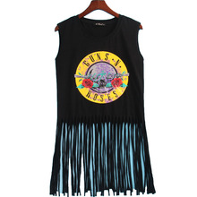 Sleeveless Black Top with Colorful Rock Themed Print