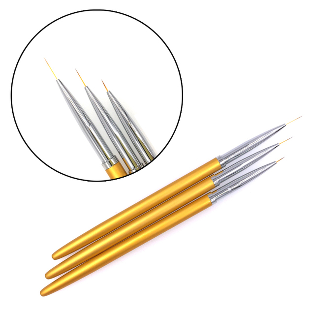 3pcs Gold Fine Art Nail Art Brush Liner Pens Metal Handle For UV Gel Polish Painting Drawing Lining Brushes Nails Tools Manicure