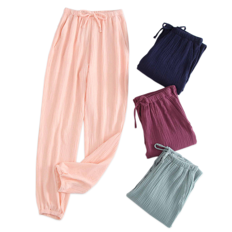 Spring Sleep Bottoms Womens Fresh Cozy  Crepe Cotton Home Trousers Men Lovers Pajamas Pants Couples Trousers Women