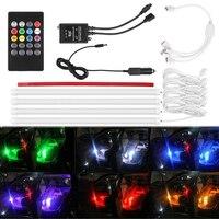 מוסיקת אורות מנורת אווירת מכונית עם מרחוק אוטומטי פנים בקרת LED רצועת אורות RGB LED רצועת DC 12 V רכב אור
