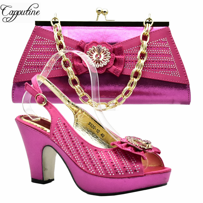 Capputine 2018 Summer African High Heels Shoes And Bag Set Italian Shoes and Bag To Match Wedding Shoes and Bag Sets DF-011 capputine italian fashion design woman shoes and bag set european rhinestone high heels shoes and bag set for wedding dress g40
