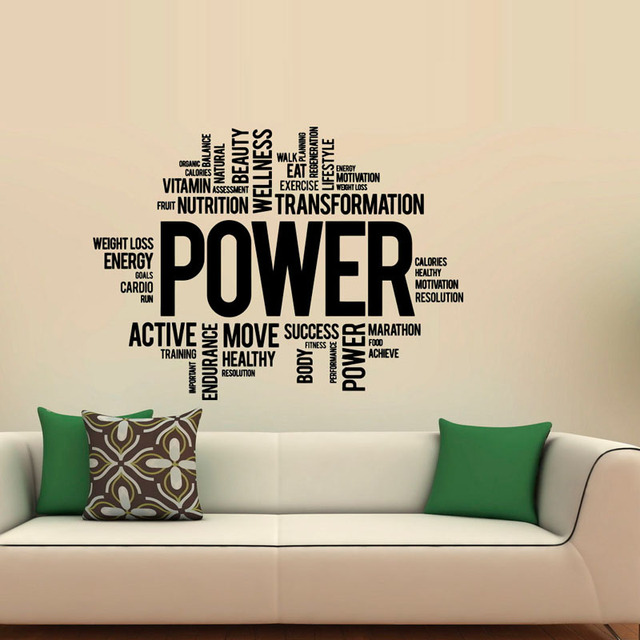 Power fitness wall decals art vinyl sticker sport gym words home decor waterproof art decal wallpaper