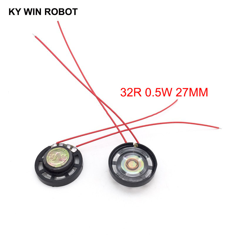 2pcs/lot New Ultra-thin Toy-car Horn 32 Ohms 0.25 Watt 0.25W 32R Speaker Diameter 27MM 2.7CM With Wire