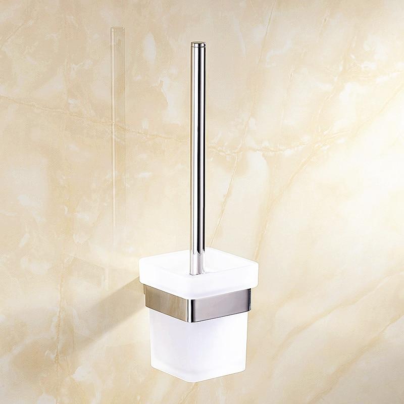 SUS Bathroom Toilet Brush Cover Holder Cup Set Wall Mounted Hanger Storage Shelf