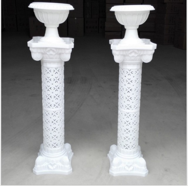 Top hot sell 2 pcs with flowerpot wedding stage pillars Plastic Roman  EK68