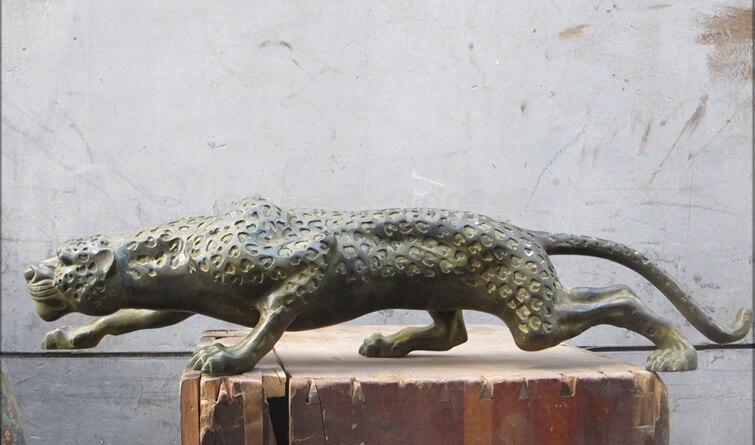001189 28 Chinois Folk Classique bronze travail manuel sculpté Léopard sauvage animal statue - 3