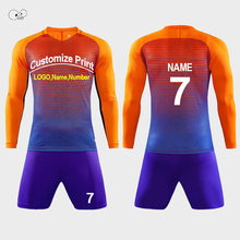 Lange Mouw Heren Voetbalshirts Set Kids Soccer Training Tieners Ademende Futsal Pak Team Sport Doelman Kits Custom Print