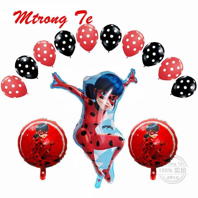 1set Miraculous Ladybug Foil Helium Balloons Birthday Party Decoration Film Balloons Children's Gift Toys Baby Supplies Globos