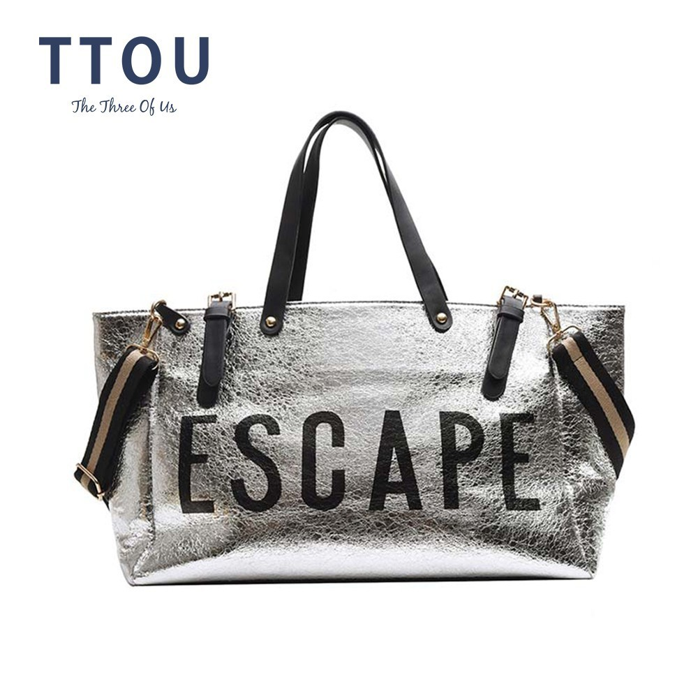 TTOU Fashion Woman Letter Silver High Capacity Bag Ladies Quality Leather Casual Shoulder Bags Flap Unisex Patchwork Bag Sac