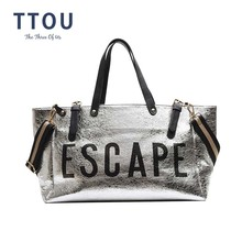 TTOU Fashion Woman Letter Silver High Capacity Bag Ladies Quality Leather Casual Shoulder Bags Flap Unisex Patchwork Sac