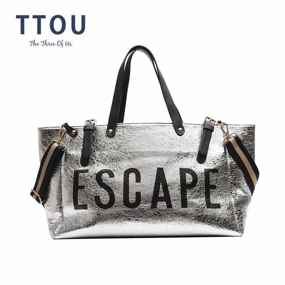 Сумка TTOU Женская, серебристая, вместительная, из высококачественной кожи, на каждый день, с клапаном, унисекс