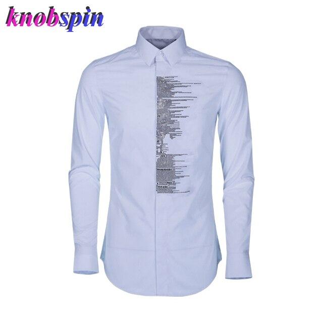 nouvelle arrivee 98cdb d35ef Marque Chemise hommes 2019 nouveau Slim mode imprimé homme haute qualité  Anti rides 80% coton chemises avec couleur or cristal