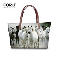 FORUDESIGNS 3D Horse Luxury Handbags Women Hand Bags Designer Famous Woman Large Tote Beach Bag Ladies