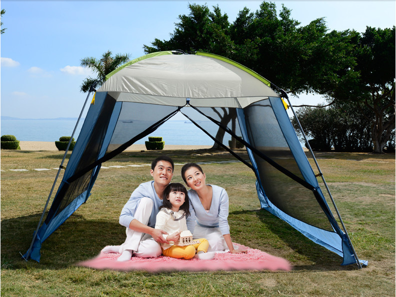 Double layer camping tent awning beach tent sun shelter outdoor tent gazebo tent UV protection sunshade without floor mat