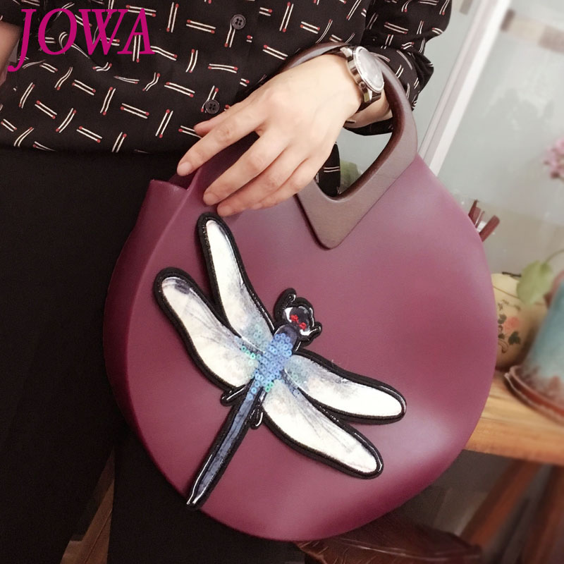 2017 New Design Women's Vintage Casual Tote Dragonfly Embroidery Handbag Jelly Clutch Wedding Party Package Night Purse 2 Colors european candy color jelly package imported rubber rubber single shoulder handbag concise doctrine finalize the design package