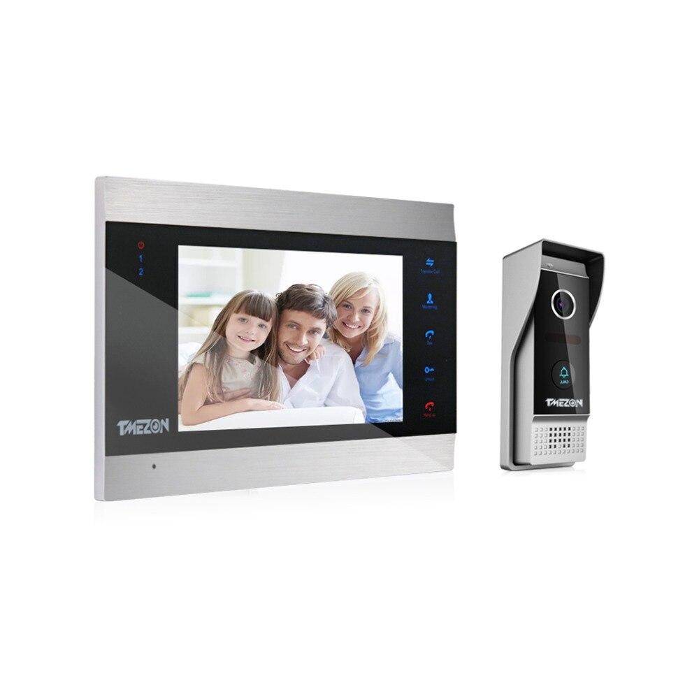 TMEZON 7 pouce TFT Filaire Vidéo Intercom Système avec 1x 1200TVL Étanche Porte Téléphone Appareil Photo, soutien Enregistrement/Instantané Sonnette