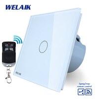 WELAIK Glass Panel Switch White Wall Switch EU Remote Control Touch Switch Light Switch 1gang2way AC110