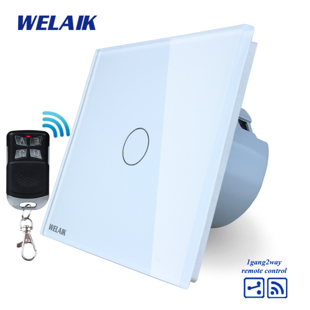 WELAIK Glass Panel Switch White Wall Switch EU remote control Touch Switch  Light Switch 1gang2way AC110~250V A1914CW/BR01 makegood eu standard smart remote control touch switch 2 gang 1 way crystal glass panel wall switches ac 110 250v 1000w