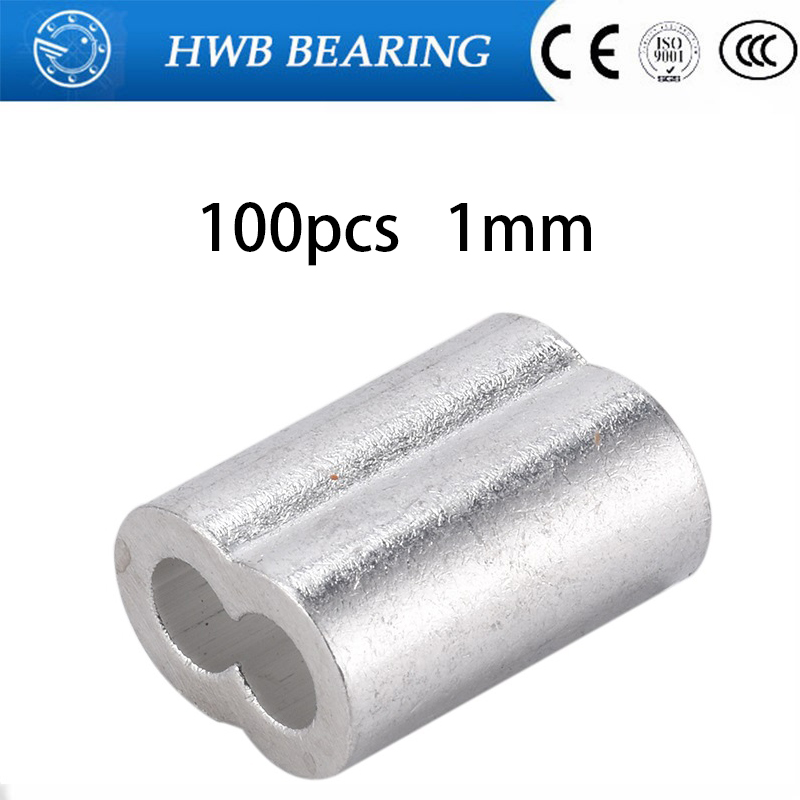 100PCS M1 1mm Aluminum Furrules Crimping Sleeve 1mm Double-hole 8 Shape Oval Clip Wire Rope Clamp Fastener Rigging Hardware