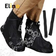 Elino PVC Rain Boots Shoe Covers for Men Women Motorcycle Bike Dustproof Waterproof Reusable Adjustable Straps Overshoes Covers