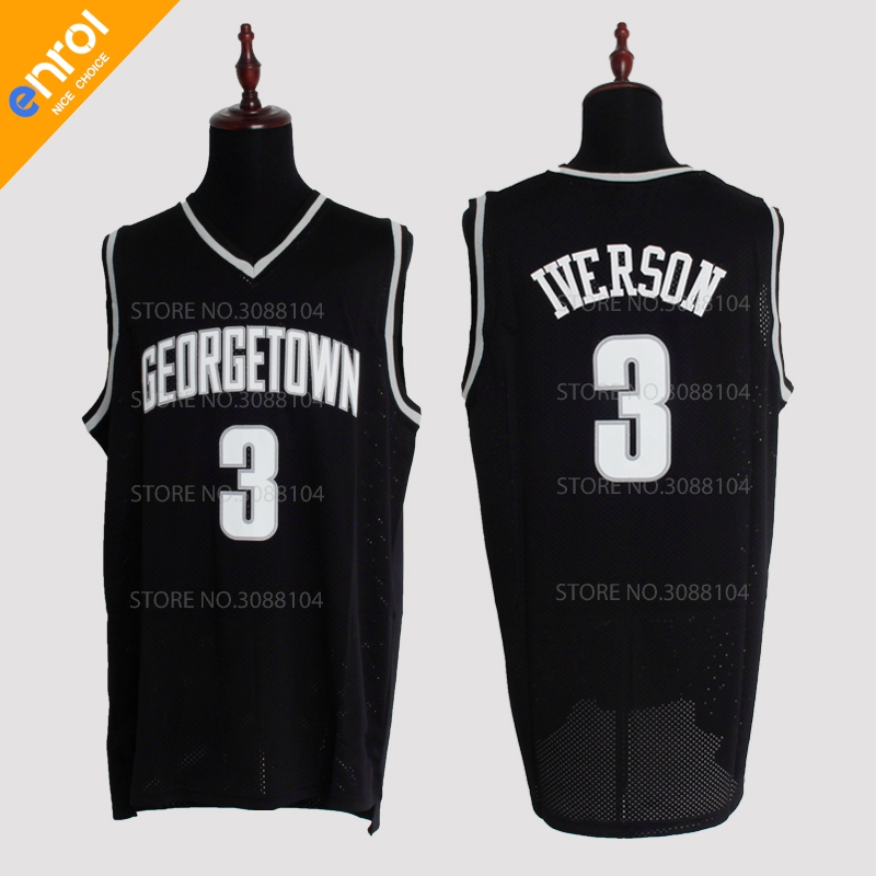 Retro Cheap Allen Iverson Jerseys 3# Georgetown University Hoyas Throwback High Quality Stitched Basketball Shirts Men 3 Colors ...