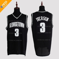 Retro Cheap Allen Iverson Jerseys 3 Georgetown University Hoyas Throwback High Quality Stitched Basketball Shirts Men