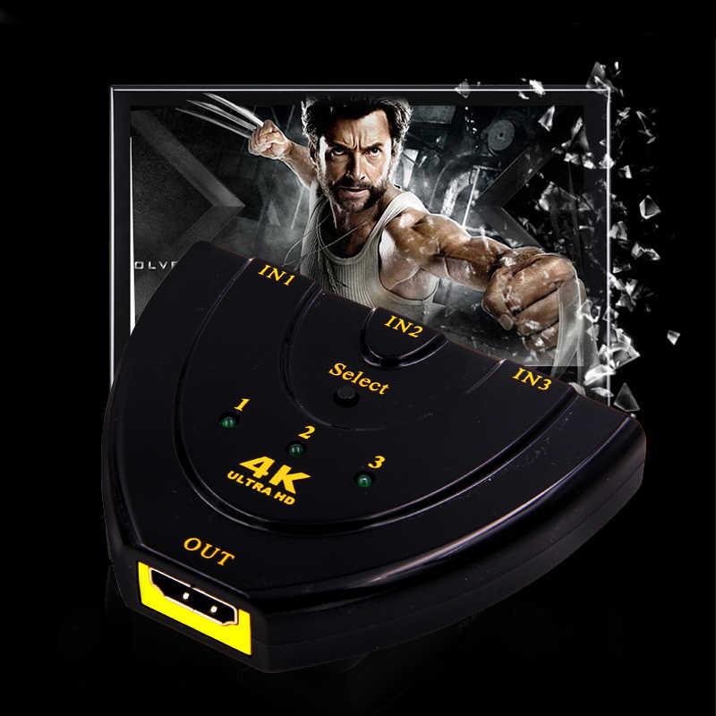 Terbaru 4 K 3D * 2D Switcher Mini 3 Port HDMI Switch HDMI Splitter 3D Tiga HD Video Switcher 1.4b 4 K HDMI Splitter HDMI