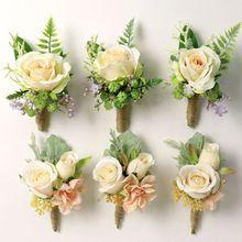Свадебная вечеринка Сувениры запястье корсаж-бутоньерка искусственное шампанское роза цветок брошь букет Жених невесты браслет подружки невесты