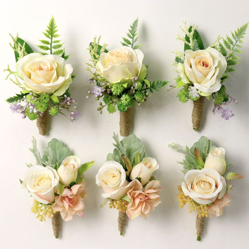 Wedding Party Favors Wrist Corsage Boutonniere Artificial Champagne Rose Flower Brooch Bouquet Groom Bride Bridesmaid Wristband fake rose flowers