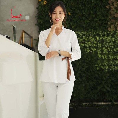 Health Shop Work Clothes Skin Management Nurse Cosmetologist Clothes Slim Sleeve Tattoo Artist SPA Work Clothes Women