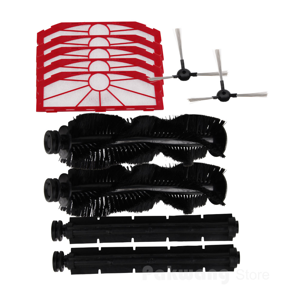 (For XR510) Parts for Robot Cleaner, Including Side Brush x 2pcs + Rubber Brush  x 2pcs Hair Brush x 2pcs Filter   5 PCS for x500 spare parts pack for vacuum cleaning robot including side brush x 4pcs primary filter x 2pcs hepa filter x 2pcs
