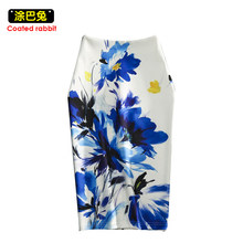 CR Spring Fashion pencil Skirt 2XL Size Women Office Lady Bracelet Skirts Geometric Print Slim Elasticity Bodycon Knee Length(China)