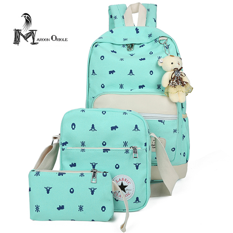 Backpack canvas bag women canvas school bag set colorful fashion backpack for women casual canvas bag
