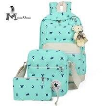 Рюкзак холст сумка женщины холст мешок школы набор красочные моды рюкзак для женщин повседневная холст сумка для девочек 3 шт., набор