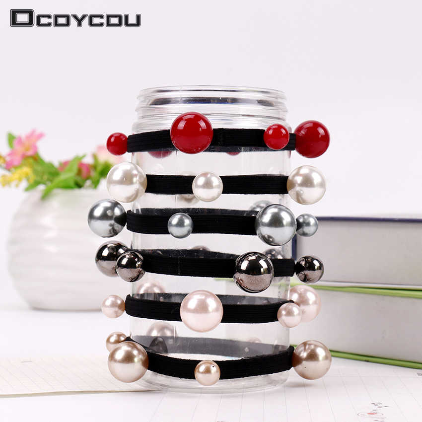 Women Hair Accessories Seamless Pearls Beads Headbands Ponytail Holder Girls Scrunchies Elastic Hair Bands Rubber Rope Headwear