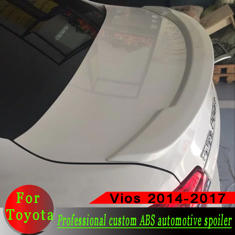 For <font><b>Toyota</b></font> Vios <font><b>Yaris</b></font> 2014-2017 spoiler High-quality ABS Material Car Rear Wing Primer or black or white Rear Spoiler For Vios image