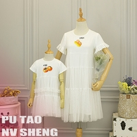 Girls Mesh Dress Mother Daughter Lace Dresses for Mom and Daughter Clothes Vestidos Baby and Sister Mommy and Children Dress