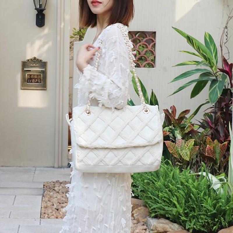 7cd16af6cc16 2019 Роскошные решетки алмаза женские сумочки известный Брендовая  дизайнерская обувь женские повседневные сумки модные холст цепи пляжные с.